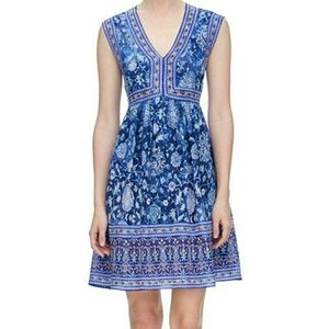 Rebecca Taylor Dreamweaver Silk Dress V Neck Blue
